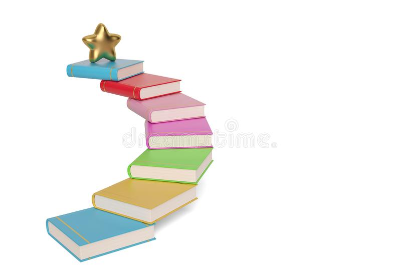 Złota gwiazda na kolorowych książkowych schodkach, 3D ilustracja ilustracja wektor