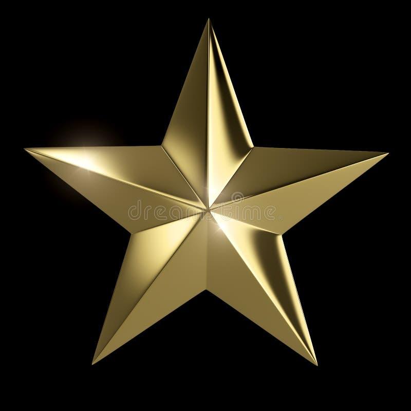 Złota gwiazda odizolowywająca ilustracja wektor