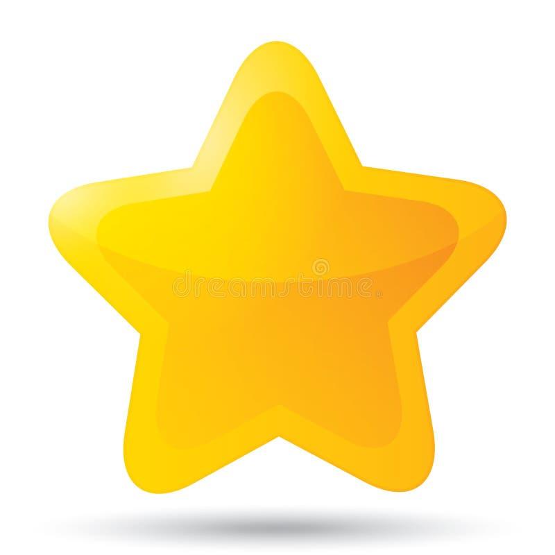 Złota gwiazdowa ikona dla oszacowywać na białym tle. royalty ilustracja