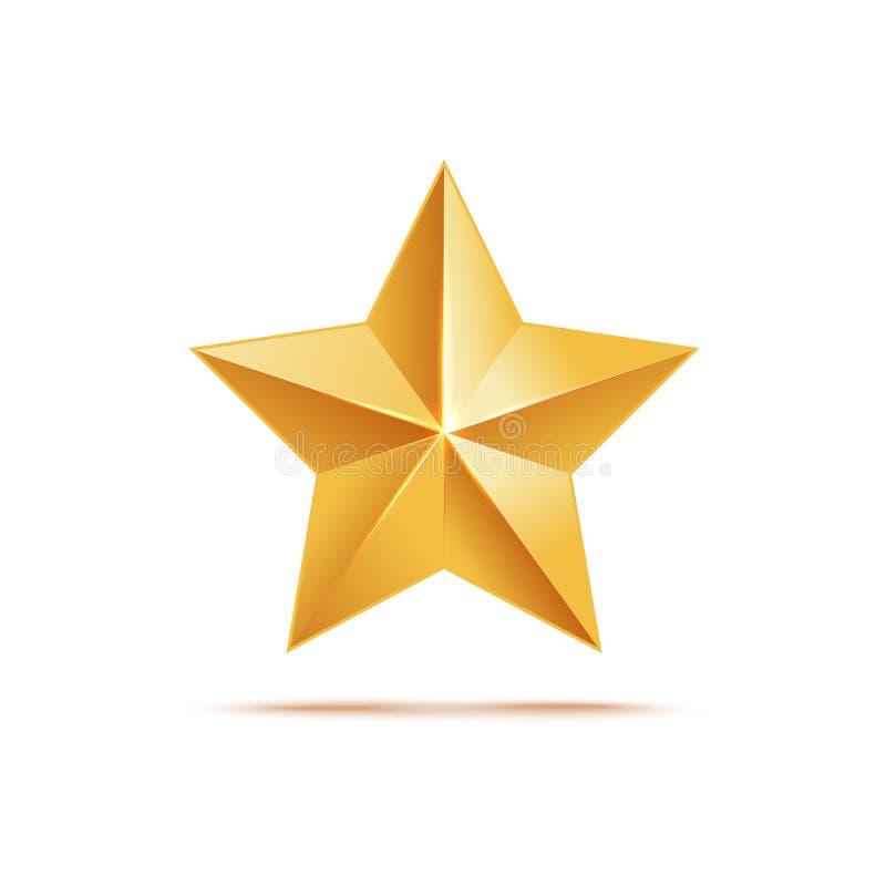 Złota gwiazdowa ikona, nagradza kruszcowego symbol i podpisuje royalty ilustracja