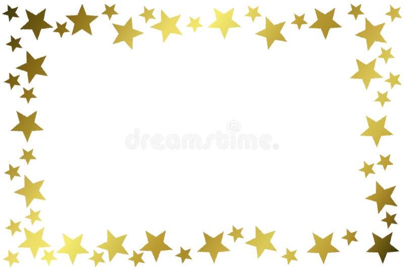 Złota gwiazdy błyskotliwości ramy granica ilustracji