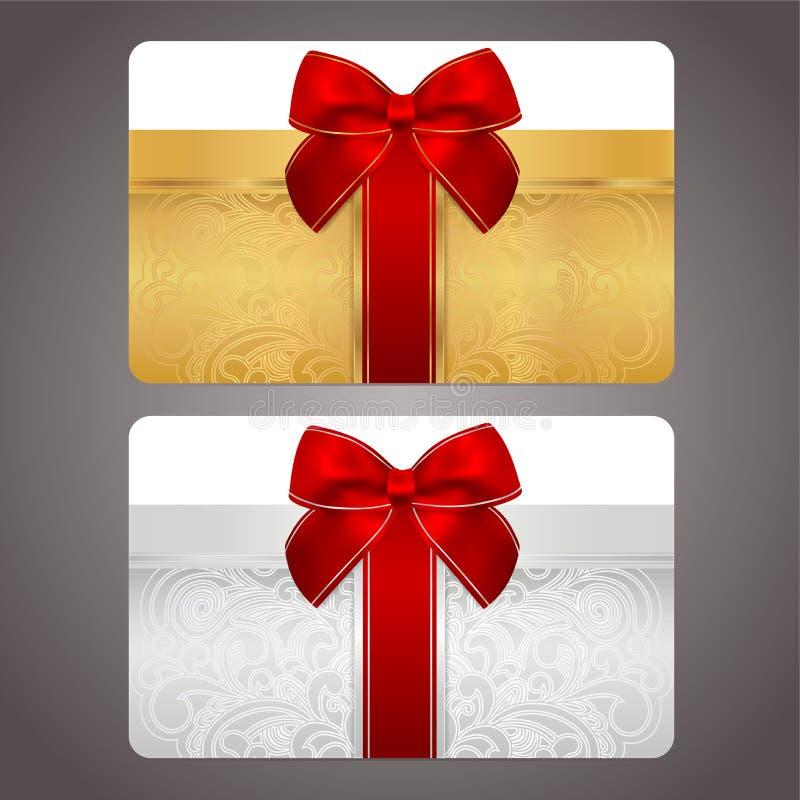 Złota i srebna prezent karta z czerwonym łękiem (faborki) ilustracja wektor