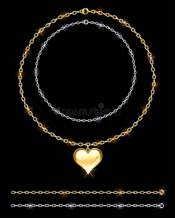 Złota i srebra łańcuch ilustracja wektor