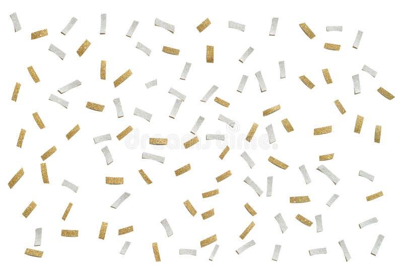 Złota i srebra błyskotliwości confetti papier ciie na białym tle obraz royalty free