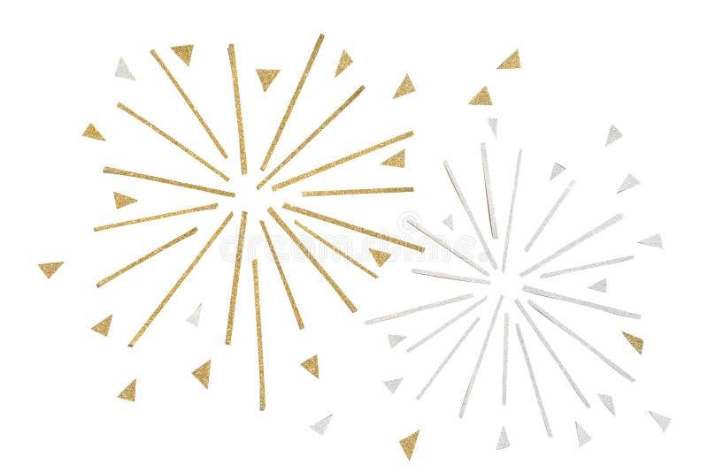 Złota i srebra błyskotliwości fajerwerku papier ciie na białym tle zdjęcie royalty free