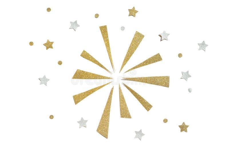 Złota i srebra błyskotliwości fajerwerku papier ciie na białym tle obraz stock