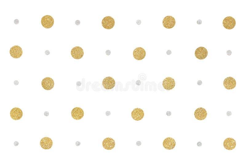 Złota i srebra błyskotliwości kropka tapetuje na białym tle zdjęcie stock