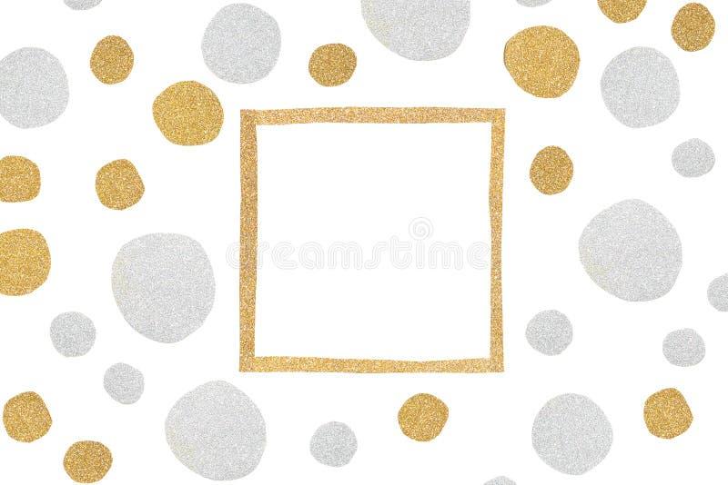 Złota i srebra błyskotliwości kwadrata ramy papieru cięcie obrazy stock