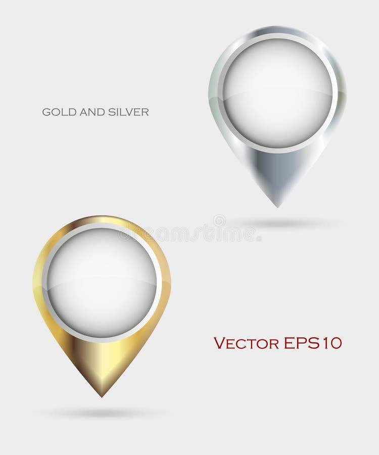 Złota i srebra mapy markiery ilustracji