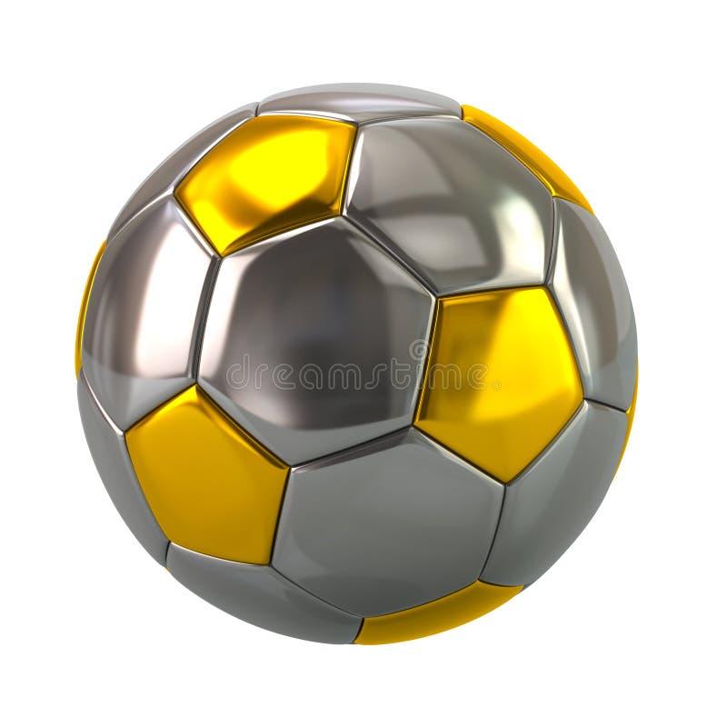 Złota i srebra piłki nożnej piłki 3d ilustracja royalty ilustracja