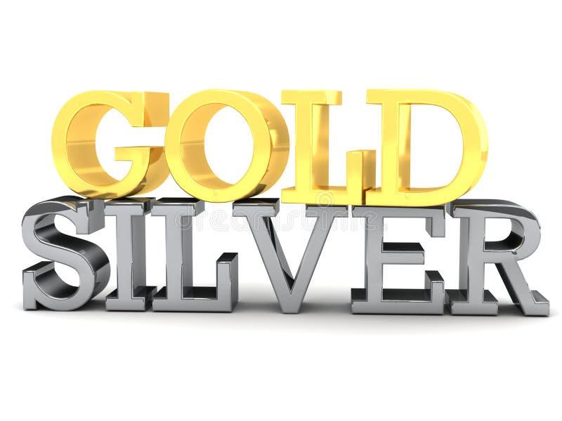 Złota i srebra słowa literowanie royalty ilustracja