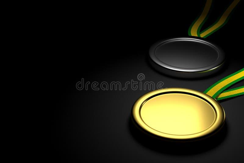 Złota i srebrnych medali tło, 3D rendering ilustracja wektor