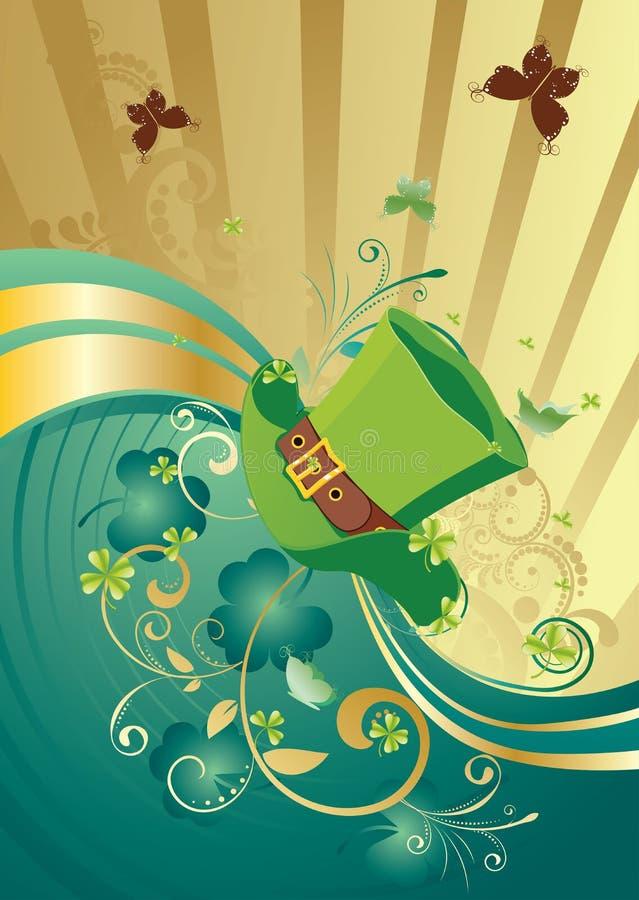 Złota i zieleni Shamrock tło ilustracji