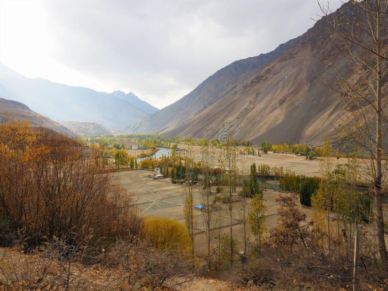 Złota jesień W Phander dolinie, Phander jezioro, Ghizer okręg, Gilgit Baltistan, Pakistan obraz royalty free