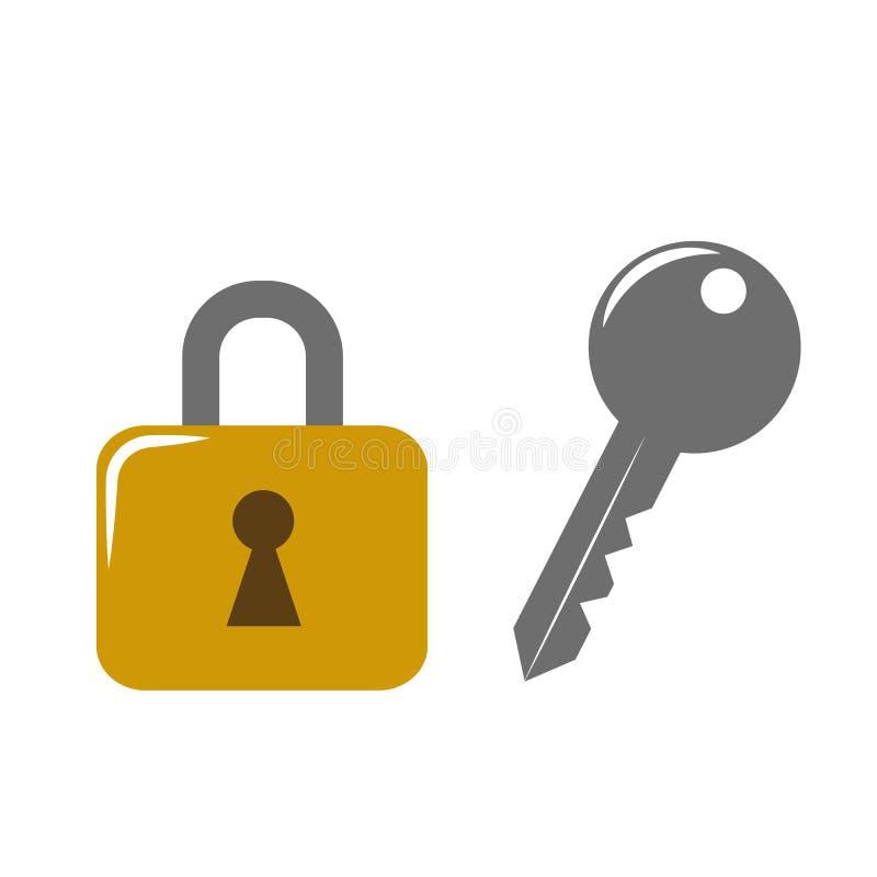 Złota kędziorka i klucza ikona royalty ilustracja