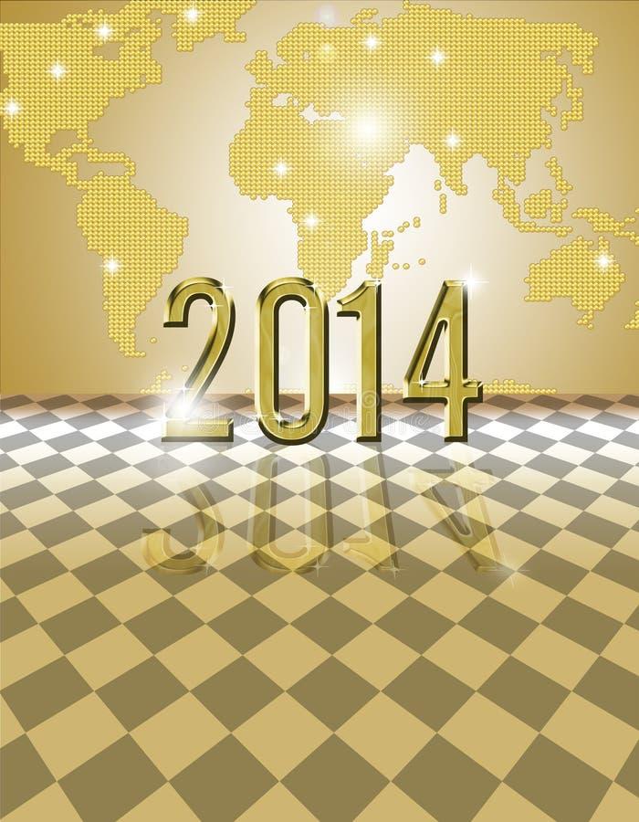 Złota 2014 karta royalty ilustracja