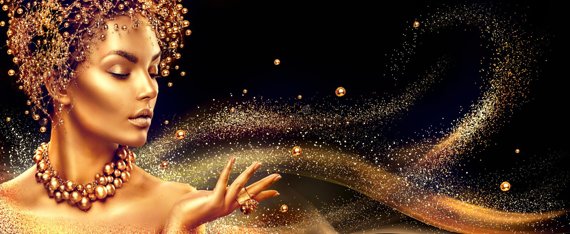 złota kobieta Piękno mody modela dziewczyna z złotym uzupełniał, włosy i jewellery zdjęcie royalty free