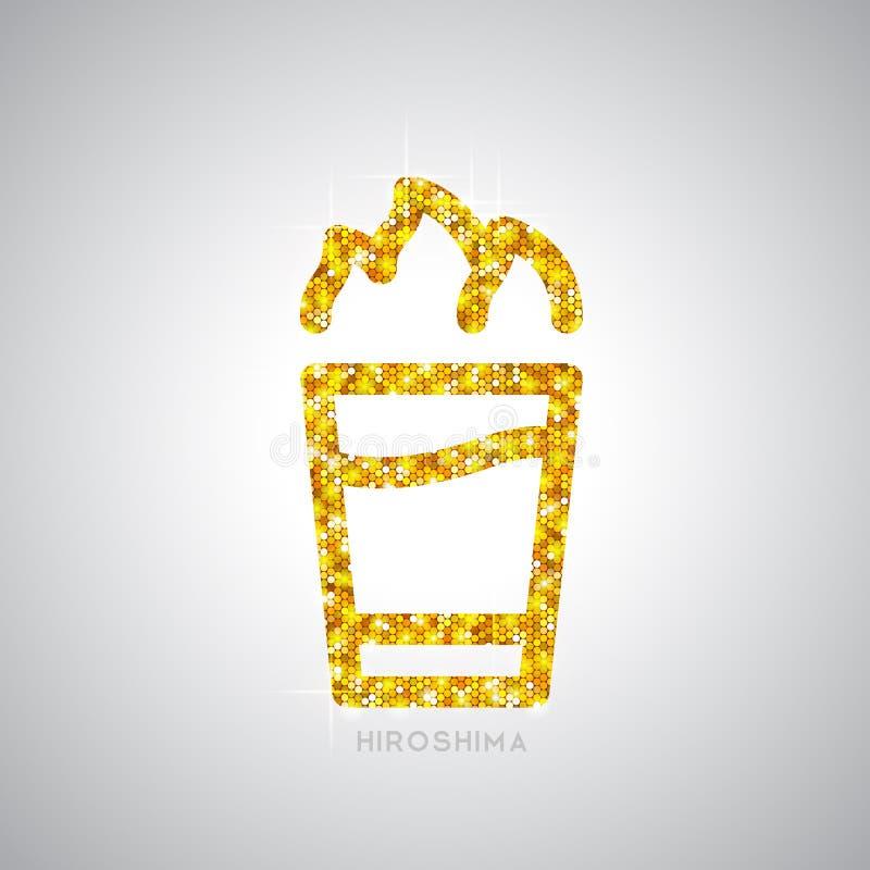 Złota koktajlu Hiroszima mieszkania ikona royalty ilustracja