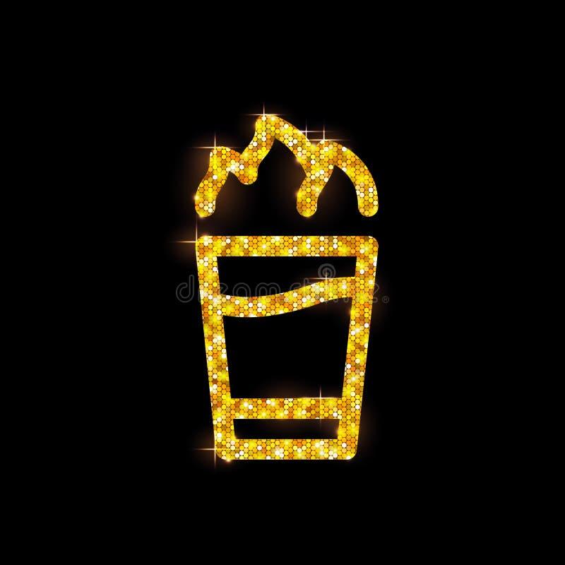 Złota koktajlu Hiroszima mieszkania ikona ilustracji