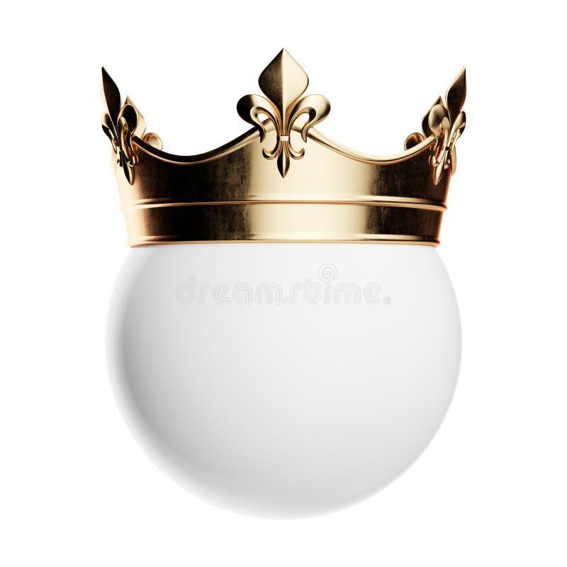 Złota korona na białej sferze odizolowywającej royalty ilustracja