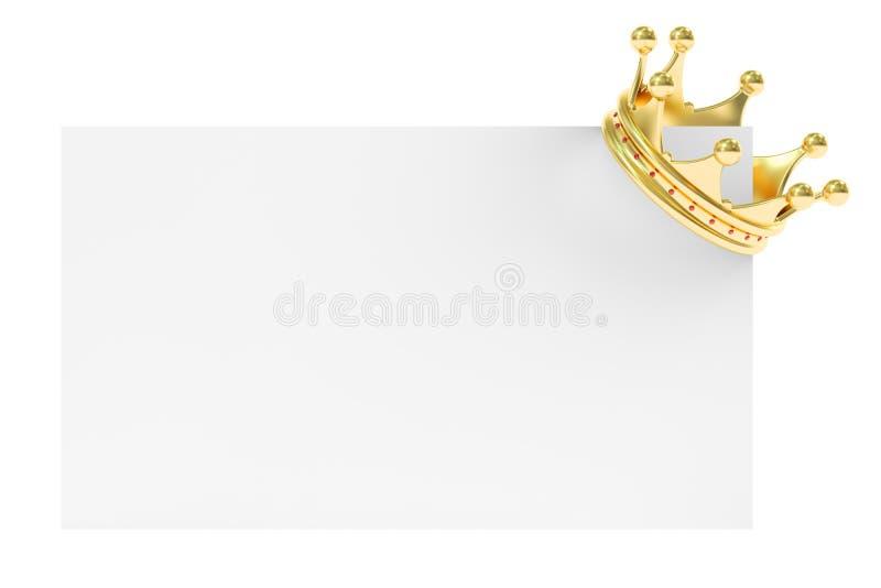 Złota korona na Pustej karcie, 3D rendering royalty ilustracja