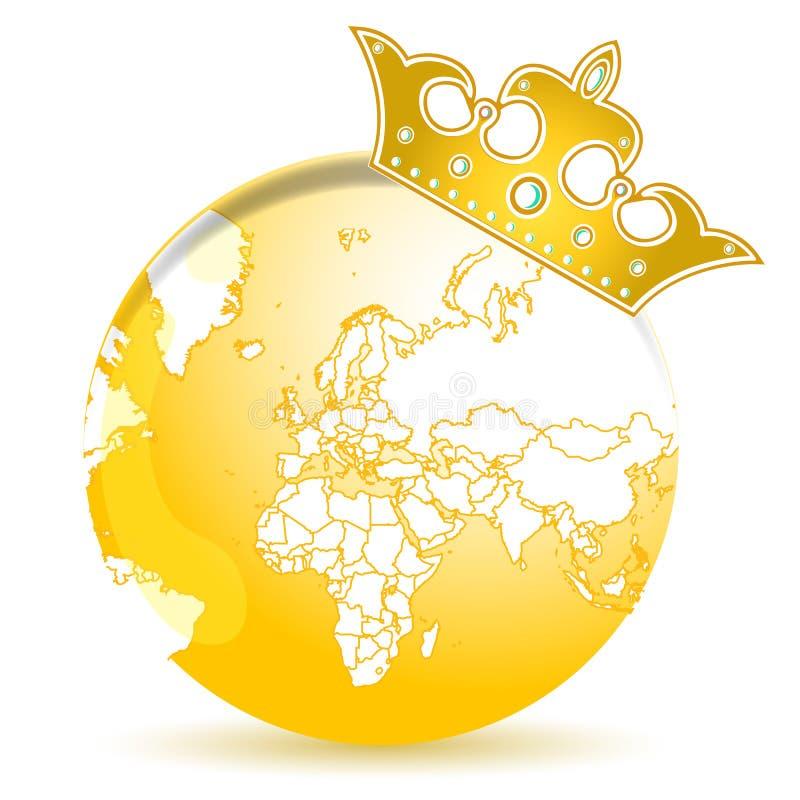 złota korony kula ziemska ilustracja wektor