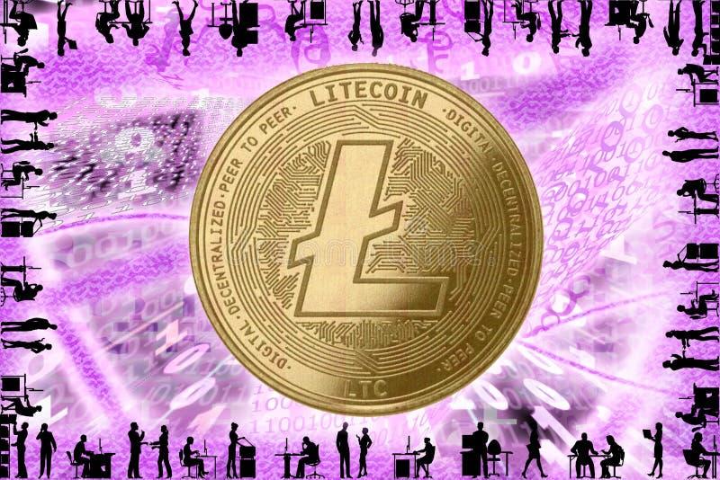 Złota kryptografia LITECOIN, w tle kodu binarnego z tunelami z energią Sylwetki osób w biurze royalty ilustracja