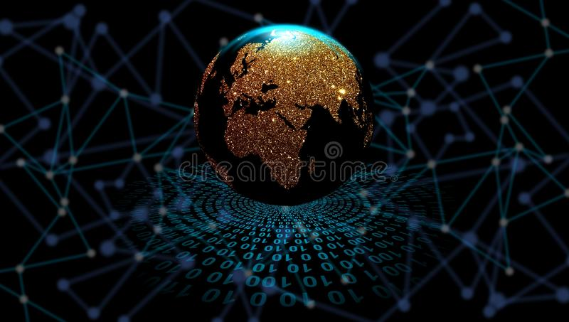 Złota kula ziemska na technologii cyfrowej tle, cyfrowi dane orbituje ?wiatowa sieci technologia Technologii komunikacja royalty ilustracja