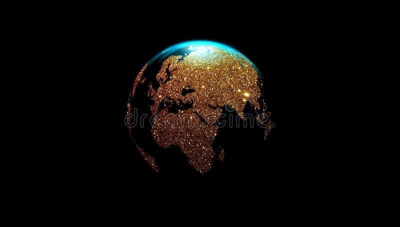 Złota kula ziemska odizolowywająca na czarnym tle, cyfrowi dane orbituje ?wiatowa sieci technologia Technologii komunikacja ilustracja wektor