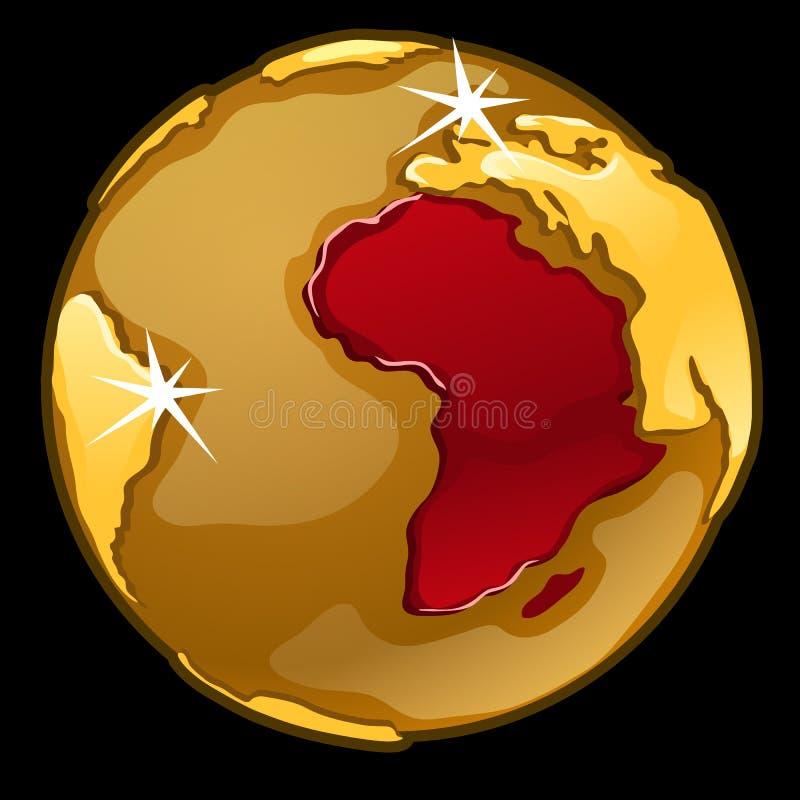 Złota kula ziemska z ocenionym Afryka kraje ilustracja wektor