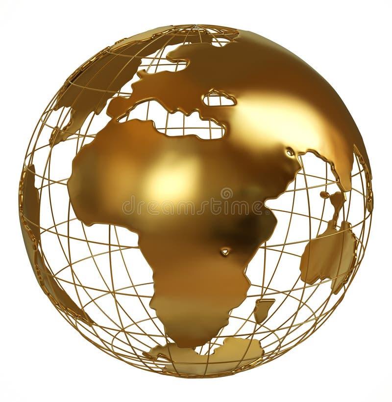 Złota kuli ziemskiej Afryka strona odizolowywająca na bielu ilustracja wektor