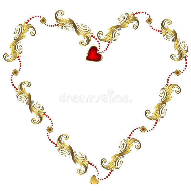 złota kwiecisty ramowy valentine s ilustracja wektor