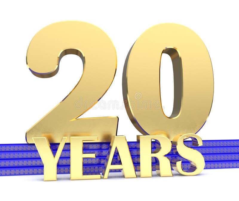 Złota liczba dwadzieścia i wpisowi rok na błękitnych schodkach z złotych symboli/lów niekończący się kępką ilustracja 3 d ilustracji