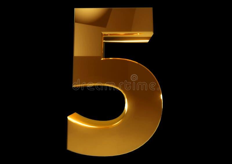 Złota liczba pięć na czarnym odosobnionym tle ilustracja wektor