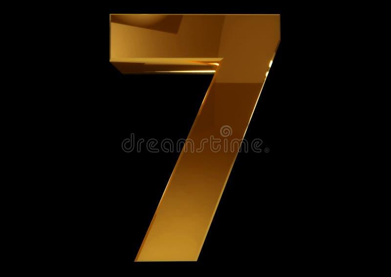 Złota liczba siedem na czarnym odosobnionym tle ilustracji