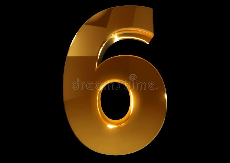 Złota liczba sześć na czarnym odosobnionym tle royalty ilustracja