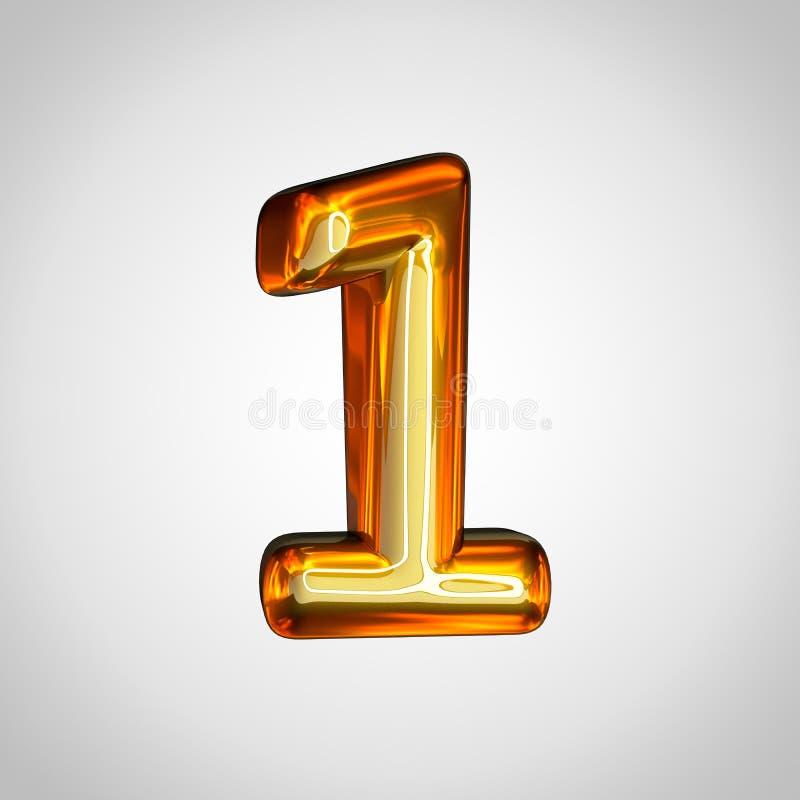 Złota liczba 1 z pożarniczym odbiciem odizolowywającym na białym tle royalty ilustracja