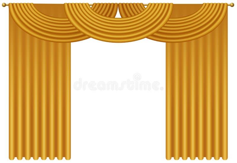 Złota Luksusowa realistyczna zasłoien draperii wektoru ilustracja ilustracja wektor