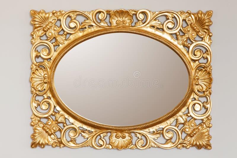 Złota lustro rama obrazy royalty free