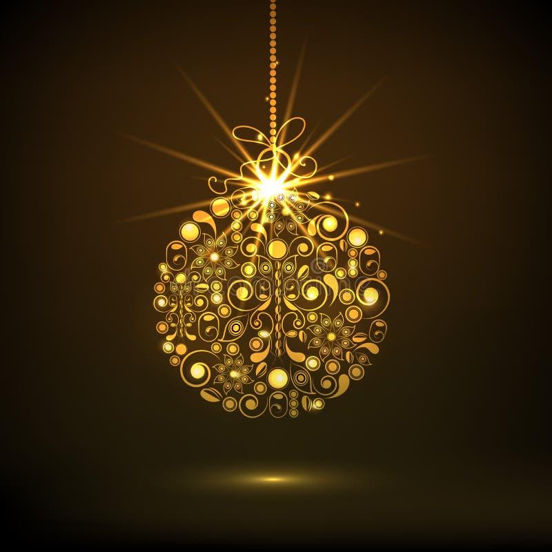 Złota Mas piłka dla Wesoło bożych narodzeń świętowań royalty ilustracja