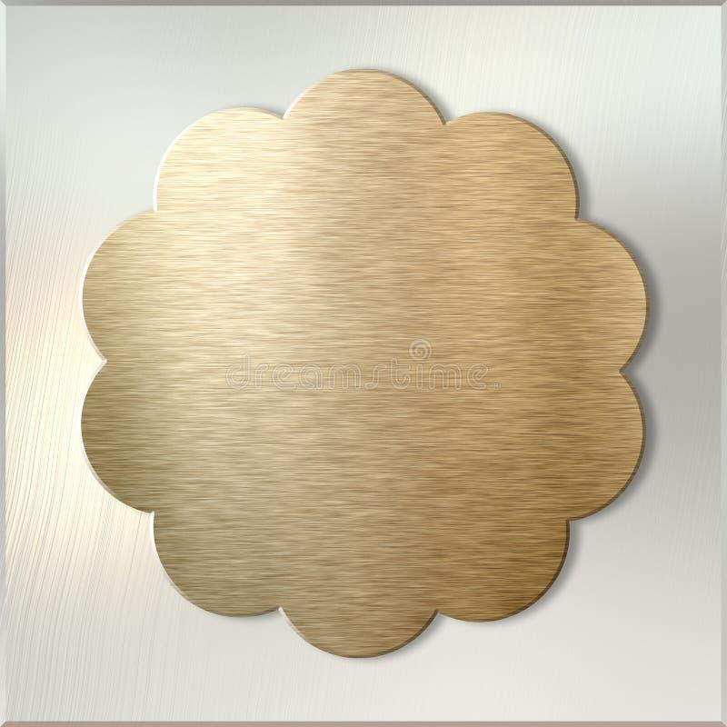 Złota metal etykietka nad oczyszczonym metalu tłem ilustracji