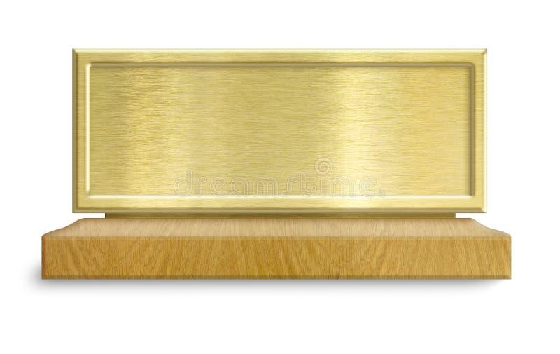 Złota metal rama na drewnianym stojaku zdjęcia stock