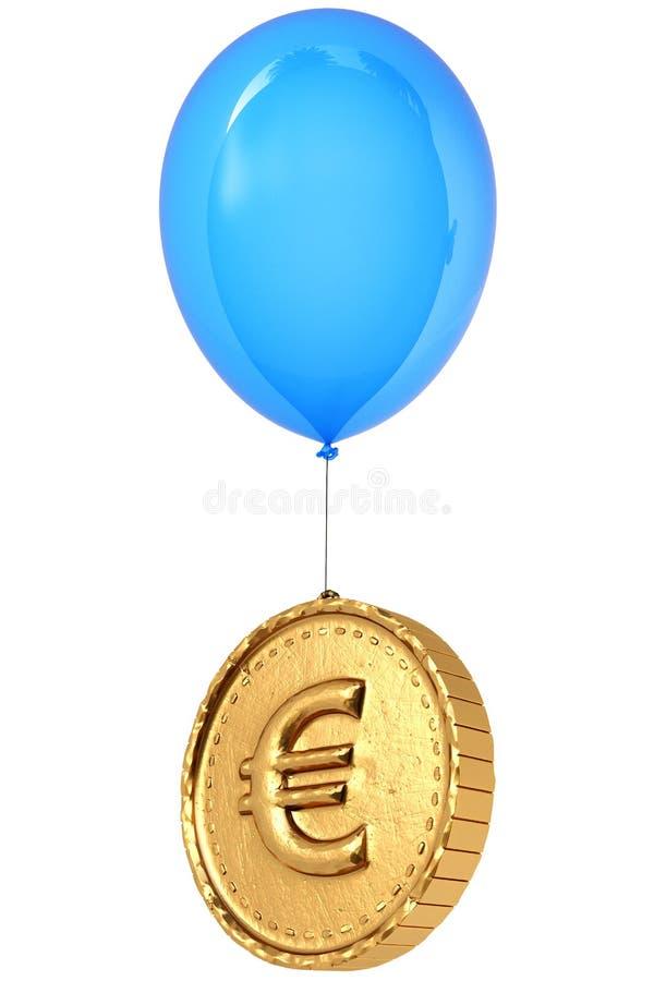 Złota moneta z euro znakiem lata na balonie royalty ilustracja