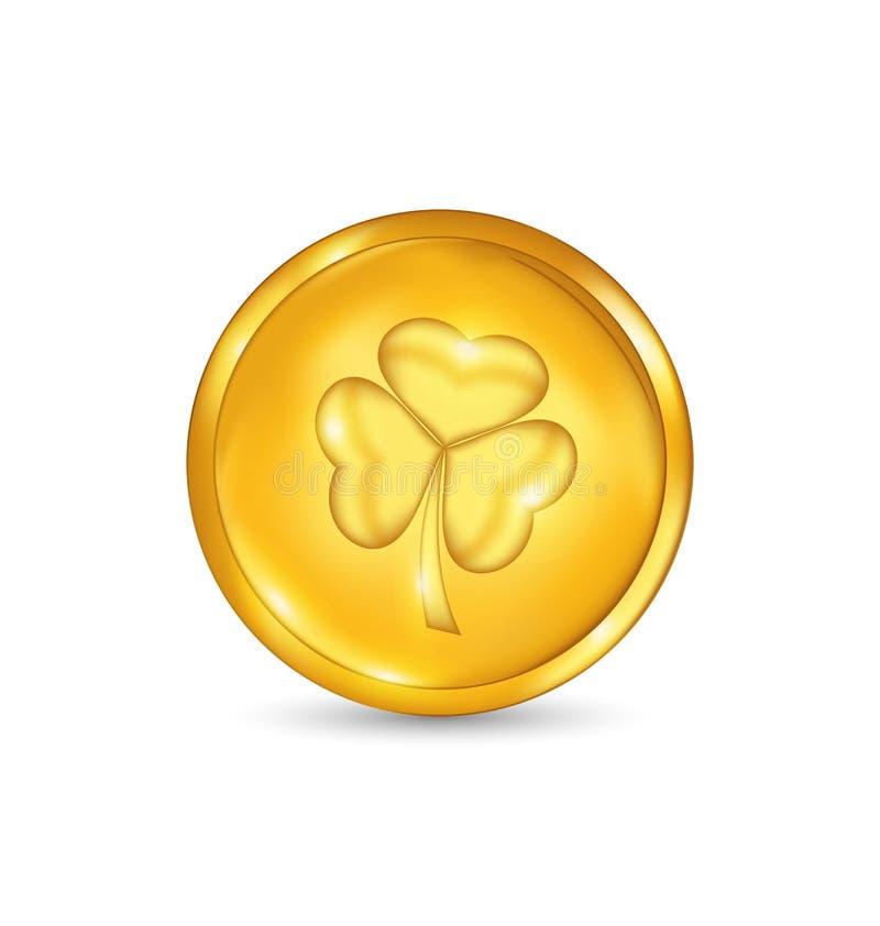 Złota moneta z trzy liśćmi koniczynowymi. St. Patrick dnia symbol royalty ilustracja