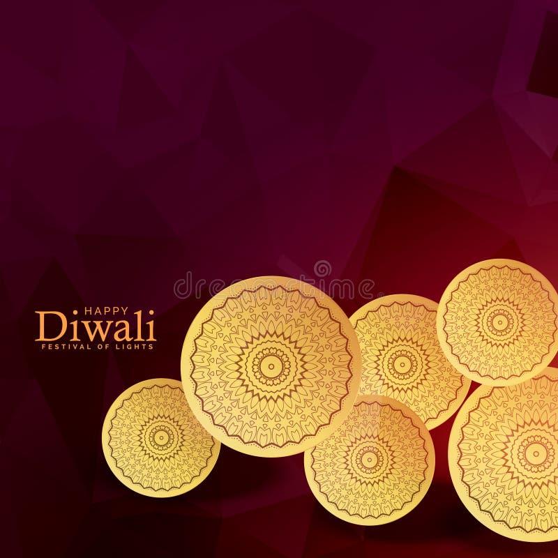 Złota monety dekoracja dla diwali festiwalu tła ilustracji
