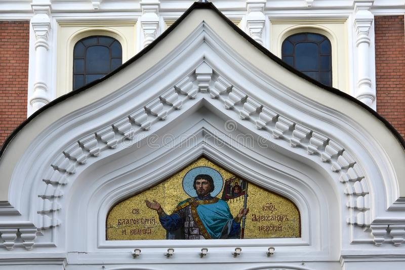 Złota mozaika przy Aleksander Nevsky katedrą, Tallinn, Estonia zdjęcia stock