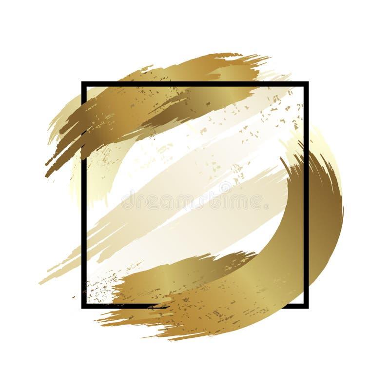 Złota muśnięcia uderzenia kolor z linii ramy paintbrush wektoru abstrakcjonistyczną ilustracją royalty ilustracja
