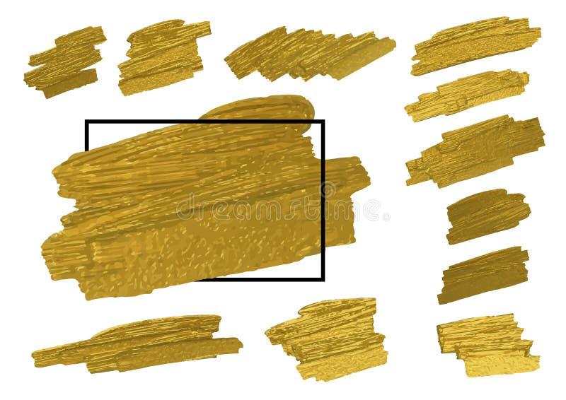 Złota muśnięcie podsyca teksturę na białym tle z linii ramą ilustracji