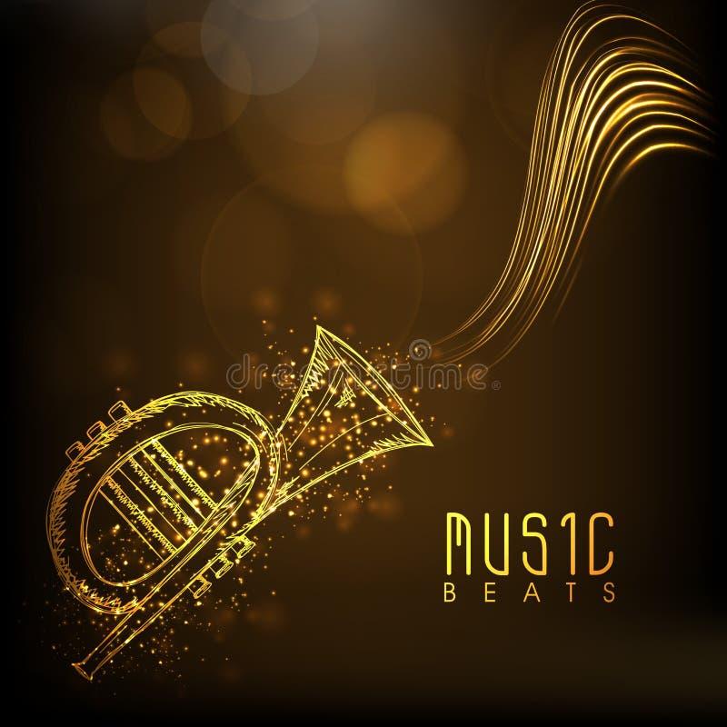 Download Złota Musical Trąbka Z Tekstem Ilustracji - Ilustracja złożonej z lifestyle, moda: 53777772