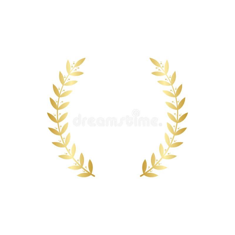Złota nagroda wianku rama z dwa round oddzielnym złotem rozgałęzia się z symmetric liśćmi ilustracji